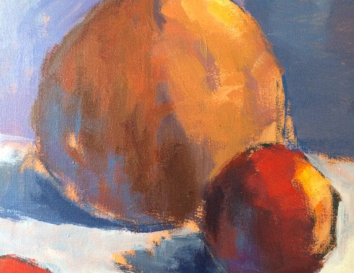 Oranje vaas met appels